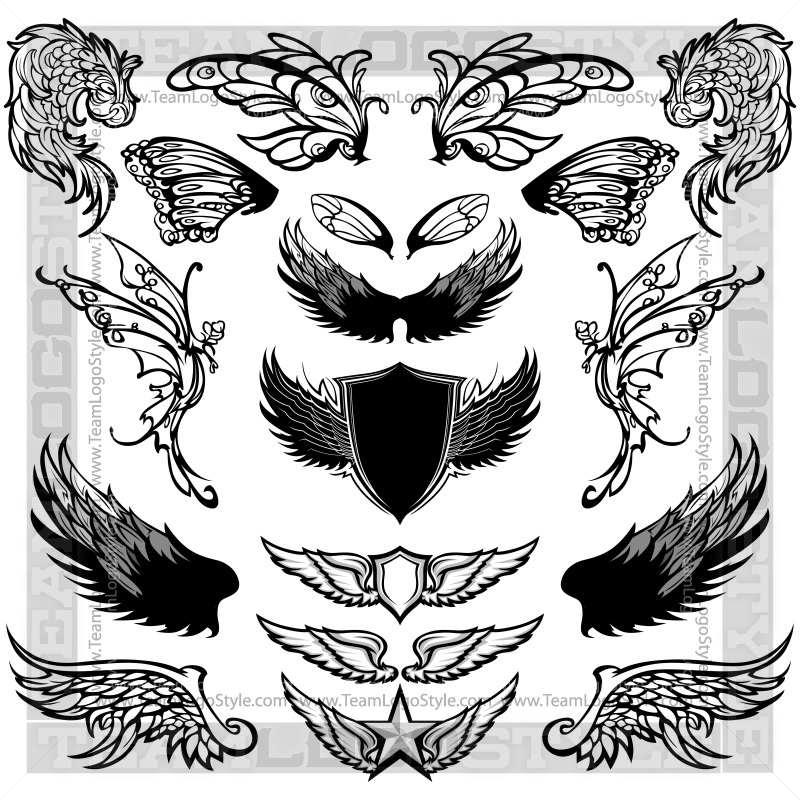 Tshirt wings clipart vector black and white stock Clip Art Bird Wings - Vector Elements Vector Design Elements vector black and white stock
