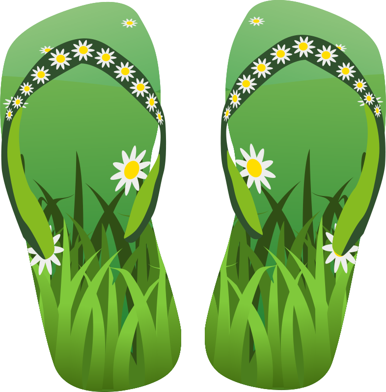 Tsinelas clipart picture library stock Free Clipart: Thong green with grass and flowers ... picture library stock