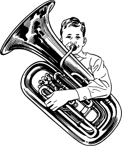 Tuba player | Public domain vectors banner freeuse library