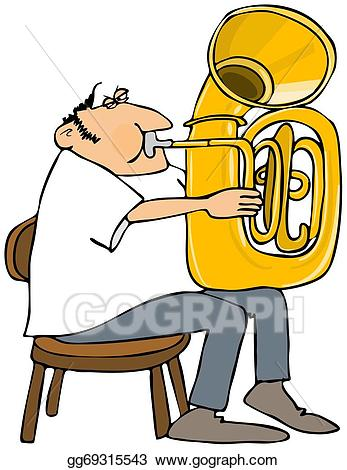 Drawing - Tuba player. Clipart Drawing gg69315543 - GoGraph black and white