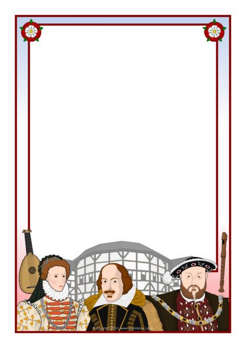 Tudor border clipart jpg freeuse Tudors-Themed A4 Page Borders (SB5703) - SparkleBox jpg freeuse