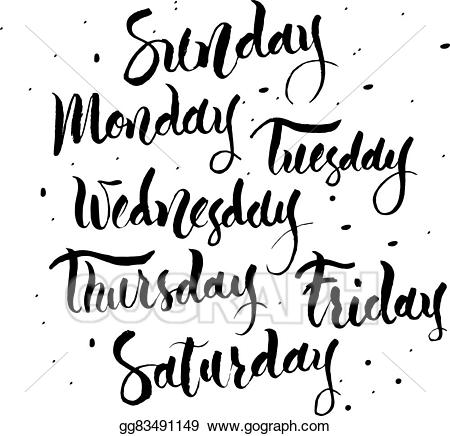 Vector Illustration - Sunday, monday, tuesday, wednesday ... picture freeuse stock