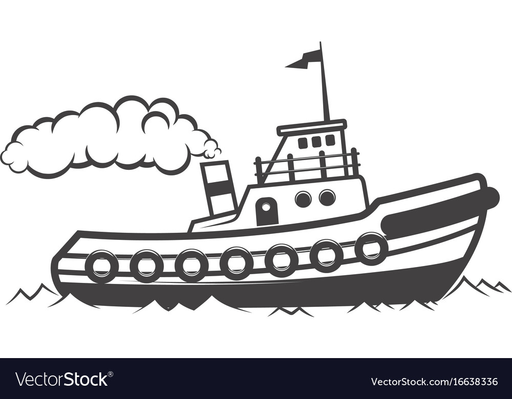 Tugboat pulling ship clipart black and white image black and white library Towing ship isolated on white image black and white library