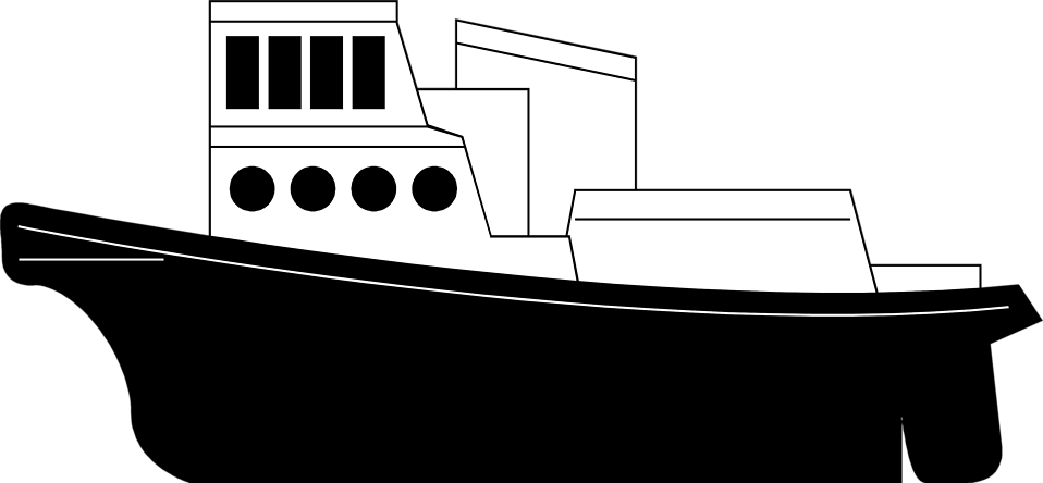 Tugboat pulling ship clipart black and white svg black and white download Tugboat PNG Black And White Transparent Tugboat Black And ... svg black and white download