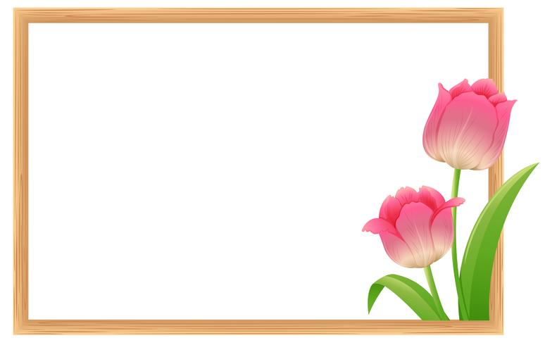 Border template with pink tulip flowers - Download Free ... transparent