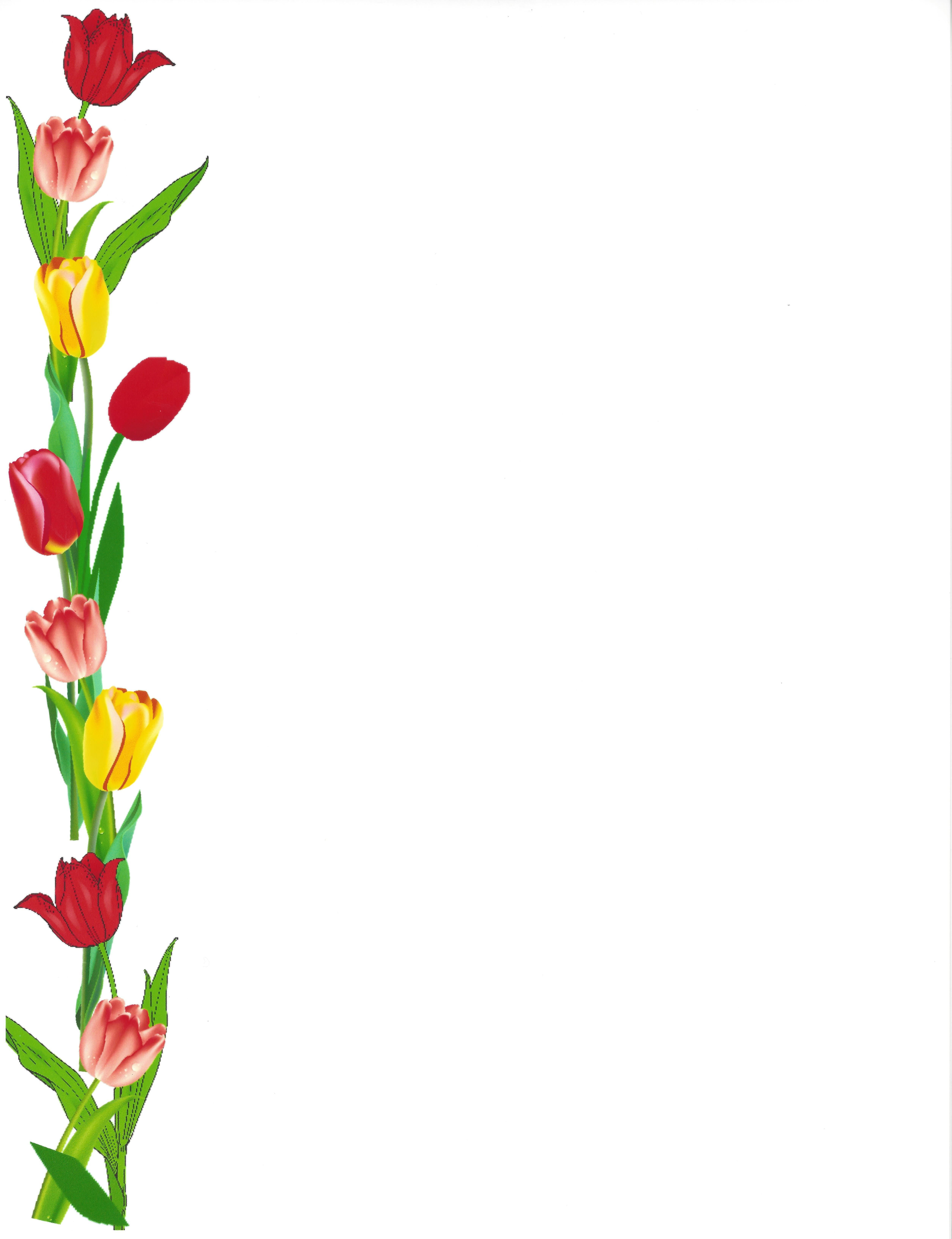 Border, tulips left side | Borders | Borders for paper, Page ... banner freeuse download