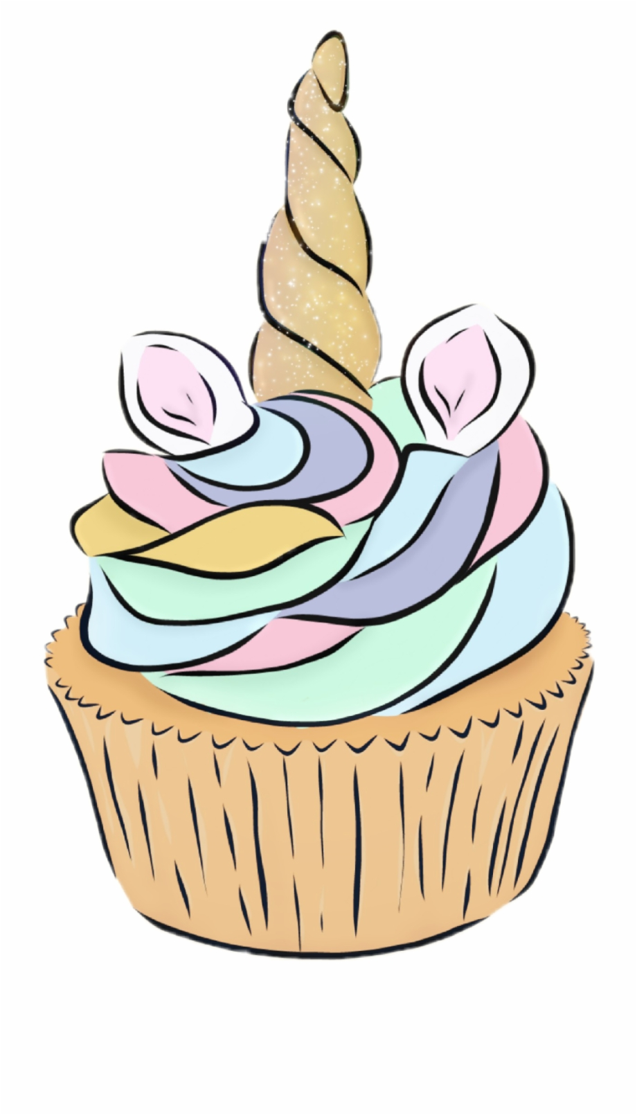 Tumblr cupcake clipart png royalty free library unicorn #cupcake #tumblr - Unicorn Cupcake Drawing ... png royalty free library