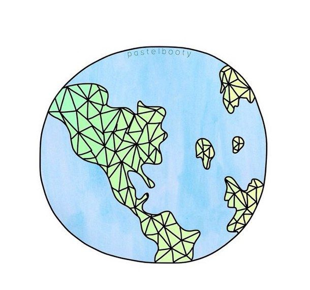 Tumblr earth clipart picture free stock blue, continents, drawing, earth, geometric, globe, green ... picture free stock