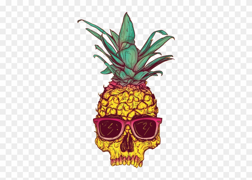 Tumblr hipster cliparts picture black and white Hipster Clipart Tumblr - Pineapple Skull - Png Download ... picture black and white