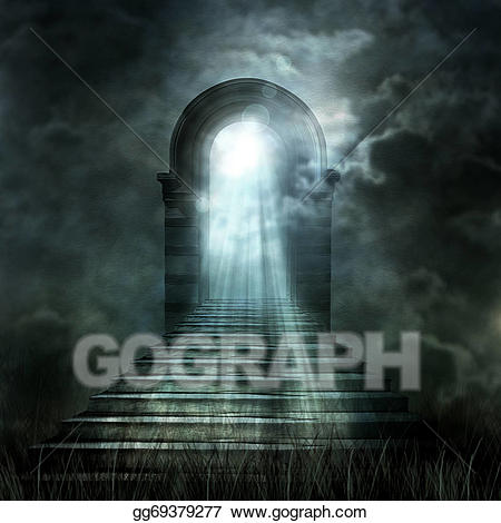 Clipart - Staircase leading to heaven or hell. light at the ... image free library