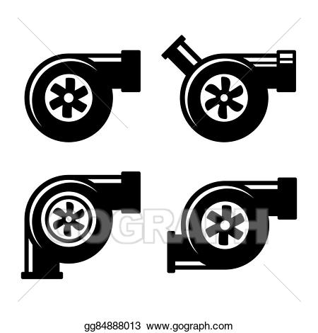 Turbo charger clipart clipart black and white stock Vector Clipart - Turbocharger icons set isolated on a white ... clipart black and white stock