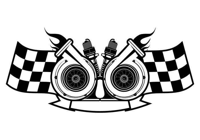 Turbo charger clipart vector black and white download Turbocharger Racing Logo Template - Download Free Vectors ... vector black and white download