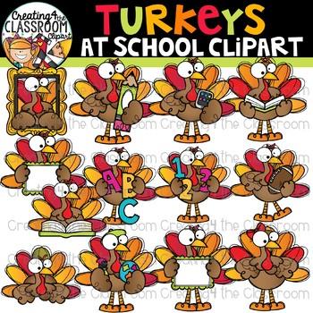 Turkeys at School Clipart {Turkey Clipart} vector transparent download