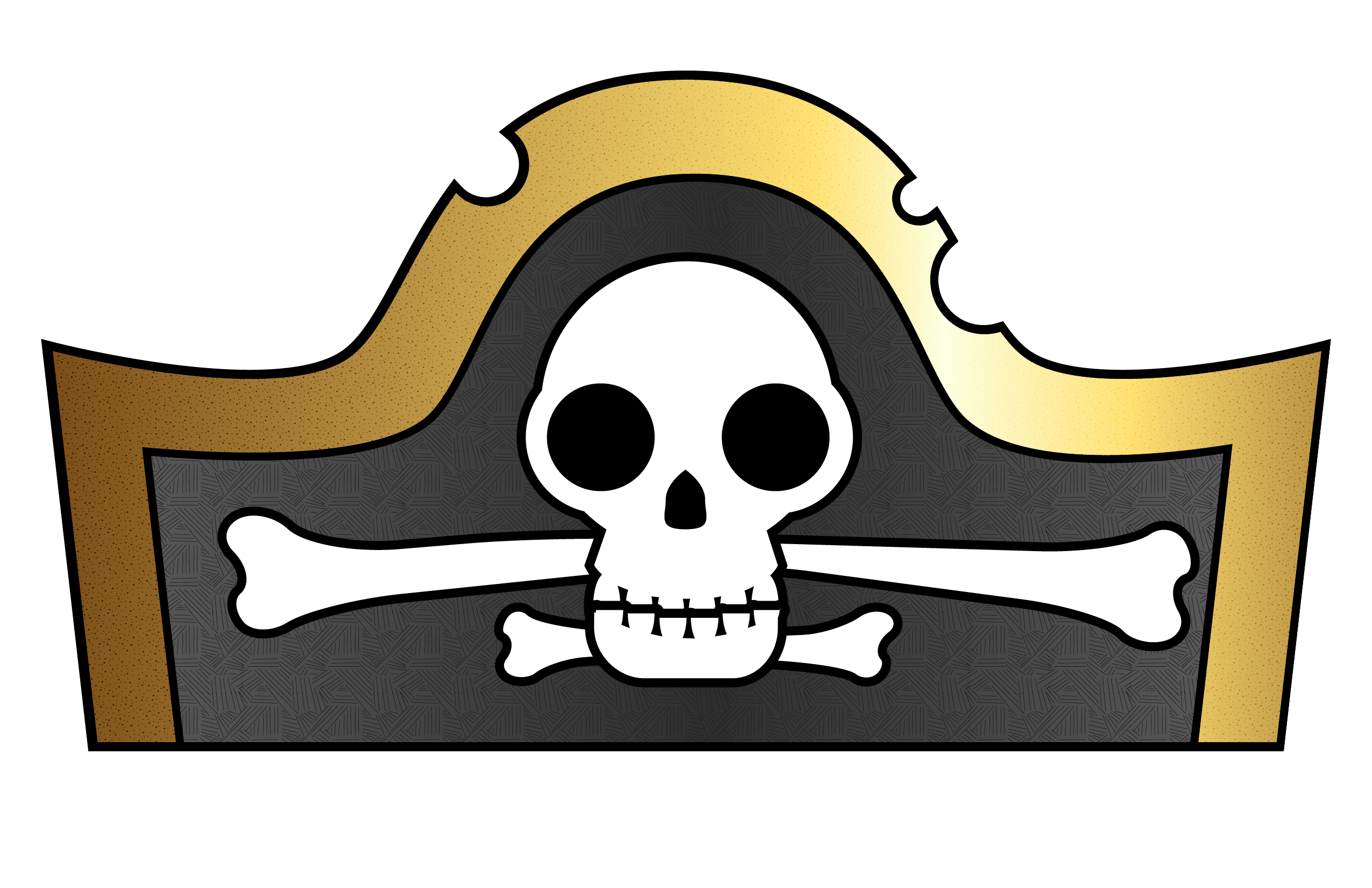 Pirate Hat Template for Kids black and white