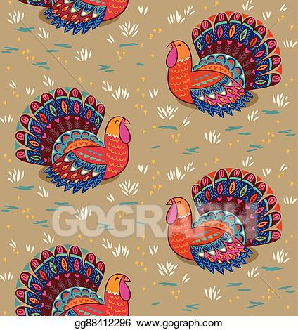 Turkey pattern clipart clip art royalty free Vector Clipart - Happy thanksgiving seamless pattern with ... clip art royalty free