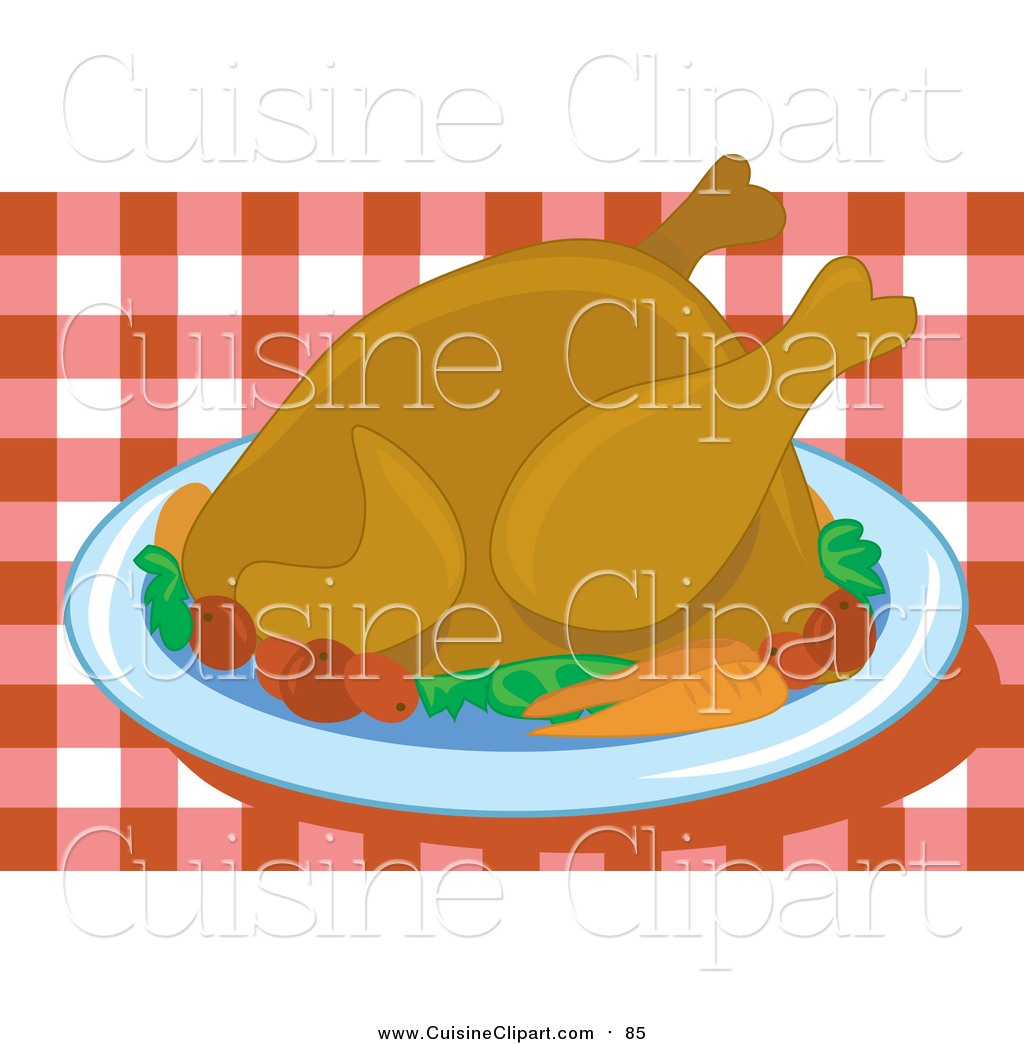 Turkey plaete clipart on table clip download Cuisine Clipart of a Roasted Thanksgiving Turkey Bird Served ... clip download