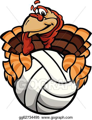 Turkey volleyball clipart library Vector Stock - Cartoon vector image of a happy thanksgiving ... library