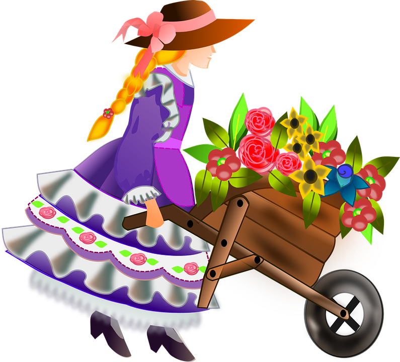 Turkey with a wheel barrow clipart svg black and white library Free photo Flowers Wheelbarrow Girl Flower Girl Barrow Woman - Max Pixel svg black and white library