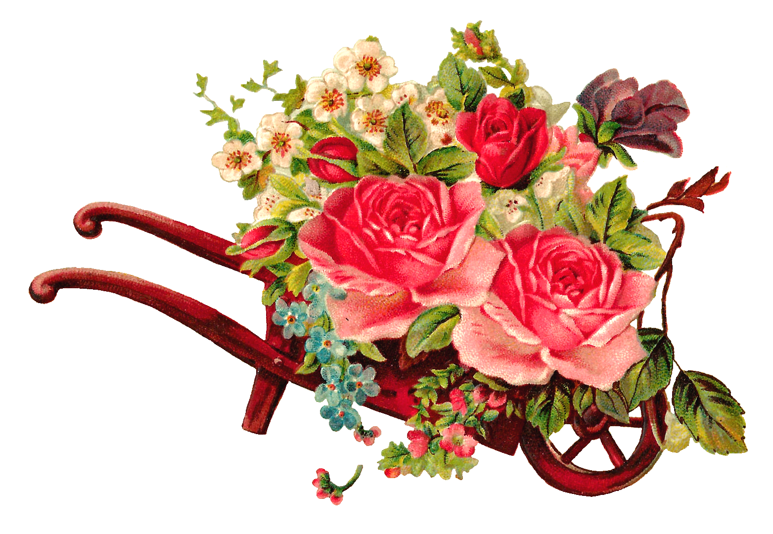 Turkey with a wheel barrow clipart image royalty free stock Antique Images: Free Digital Flower Rose Images of Rose Bouquet in ... image royalty free stock