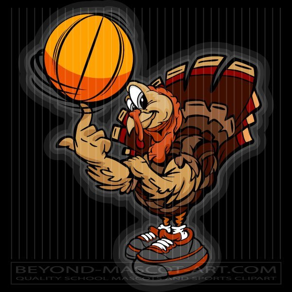 Turkey with basketball clipart