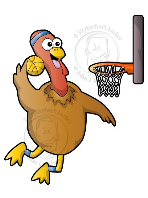 Turkey with basketball clipart clipart black and white Dunking Turkey - Royalty Free License clipart black and white