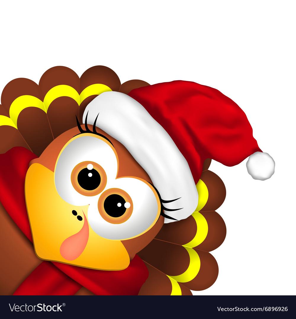 Turkey with santa hat clipart graphic transparent download Cartoon turkey in a santa hat on white background graphic transparent download