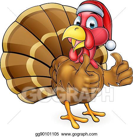 Turkey with santa hat clipart royalty free library EPS Vector - Cartoon christmas turkey bird in santa hat ... royalty free library