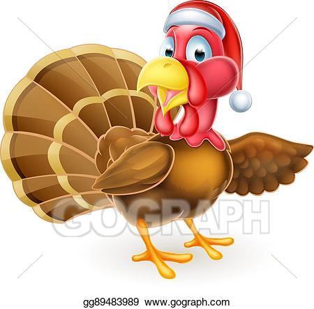 Turkey with santa hat clipart transparent library EPS Vector - Cartoon christmas santa hat turkey bird ... transparent library