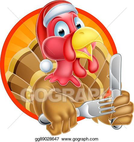 Turkey with santa hat clipart png library Vector Stock - Turkey bird in santa hat holding knife and ... png library