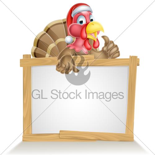 Turkey with santa hat clipart png stock Santa Hat Turkey Sign · GL Stock Images png stock