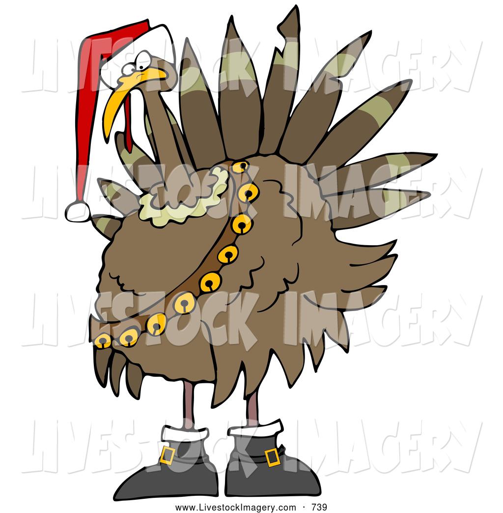 Turkey with santa hat clipart clip black and white Clip Art of a Festive Gobble Turkey Bird in a Santa Hat ... clip black and white