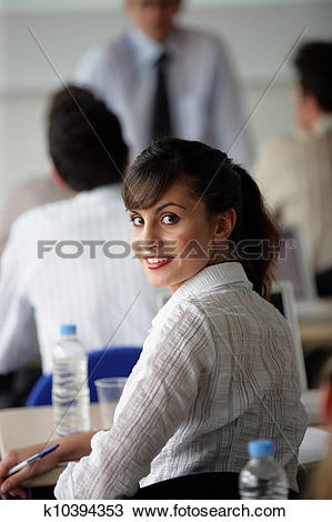 Turning around in class clipart clip black and white download Stock Photo of Girl turning around in class k10394353 - Search ... clip black and white download