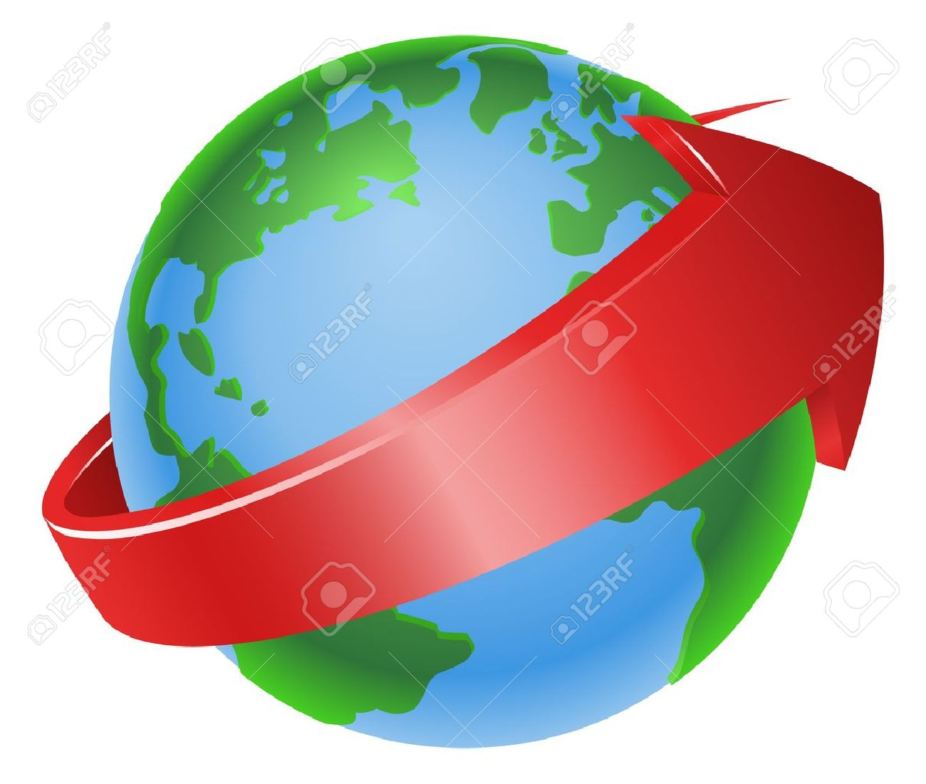 Turning globe clipart graphic library library Illustration Of A Spinning Globe With Red Arrow Around It Royalty ... graphic library library