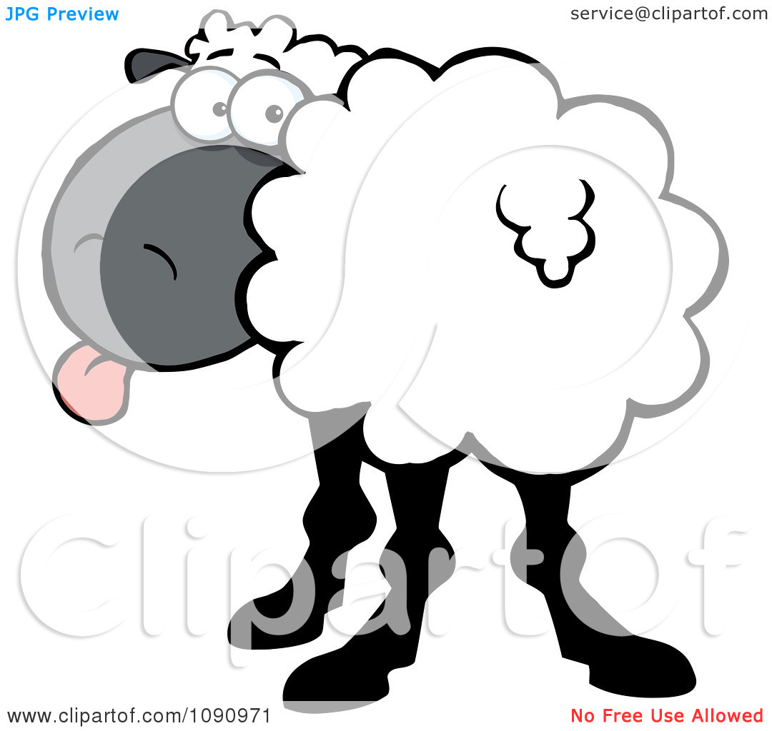 Turning head clipart jpg royalty free Clipart White Sheep Turning Its Head Back And Sticking Its Tongue ... jpg royalty free