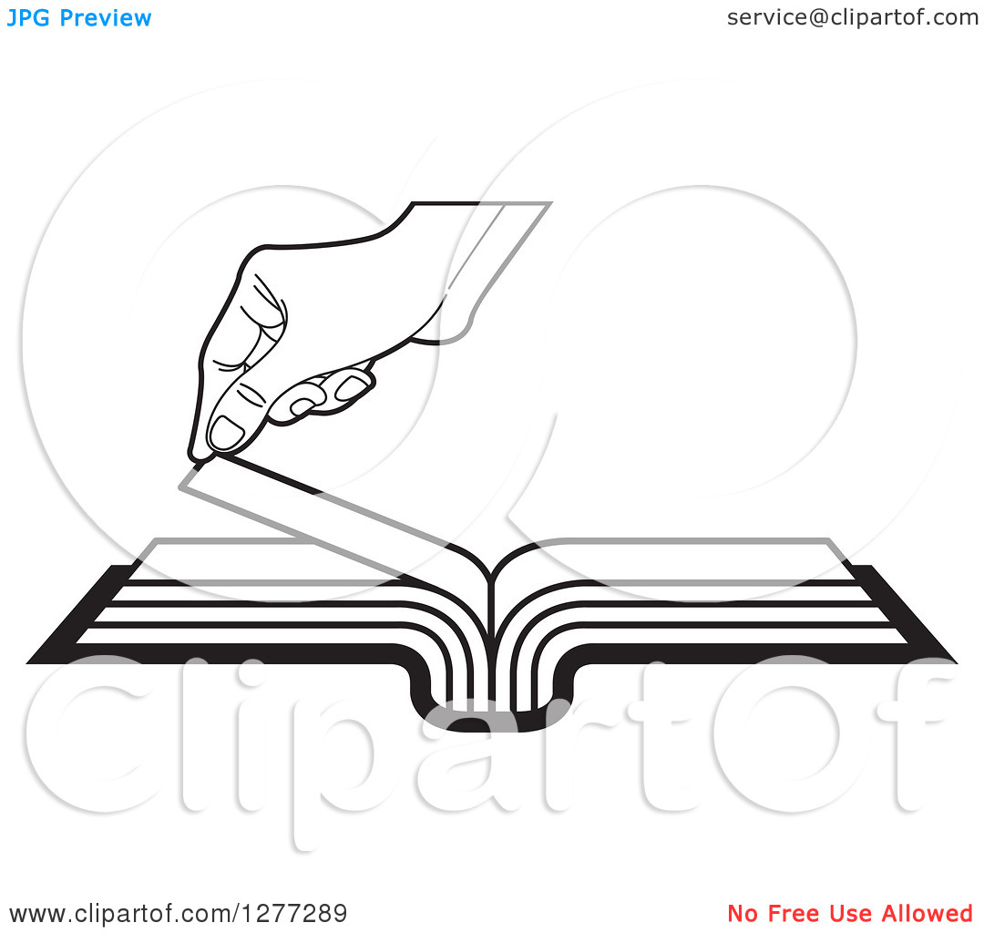 Turning page clipart vector free download Clipart of a Black and White Hand Turning a Book Page - Royalty ... vector free download