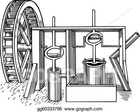 Turning water mill wheel clipart clipart free stock Vector Clipart - Water mill. Vector Illustration gg60333796 ... clipart free stock