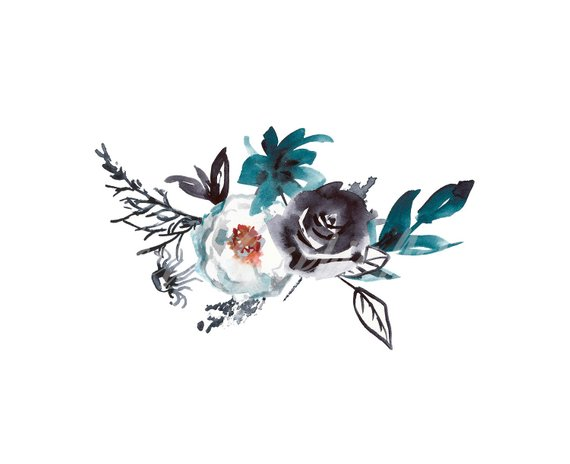 Turquoise and black flowers clipart image transparent download Watercolor bouquet of blue white and black flowers. Wedding ... image transparent download