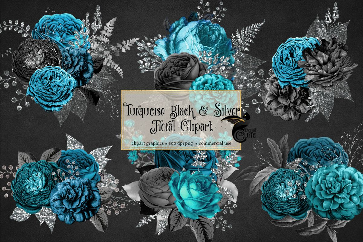 Turquoise and black flowers clipart jpg library library Turquoise Black and Silver Floral Clipart jpg library library
