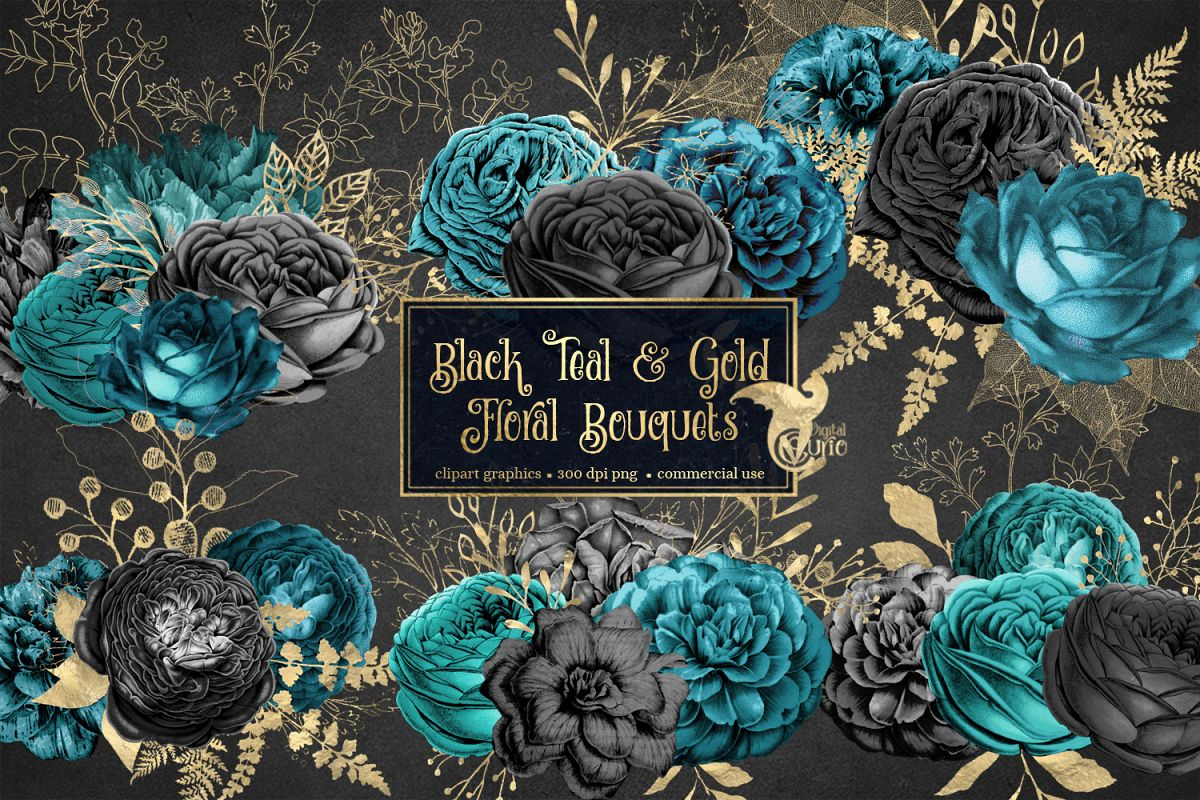 Turquoise and black flowers clipart svg transparent Black Teal and Gold Floral Clipart svg transparent
