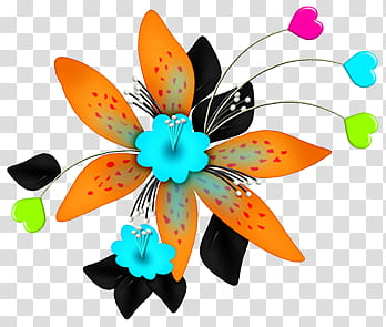 Turquoise and black flowers clipart vector transparent library Flowers Colours, orange and black flower illustration ... vector transparent library