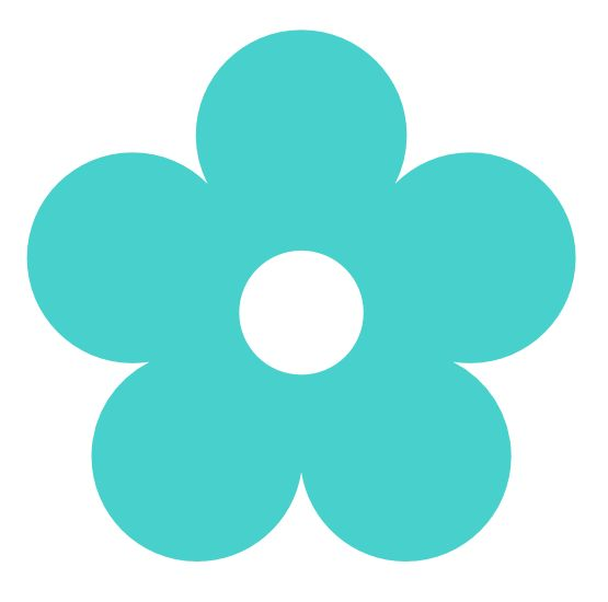 Turquoise number 1 clipart svg black and white stock Retro Flower 1 Color Colour Medium Turquoise Peace 999px.png ... svg black and white stock
