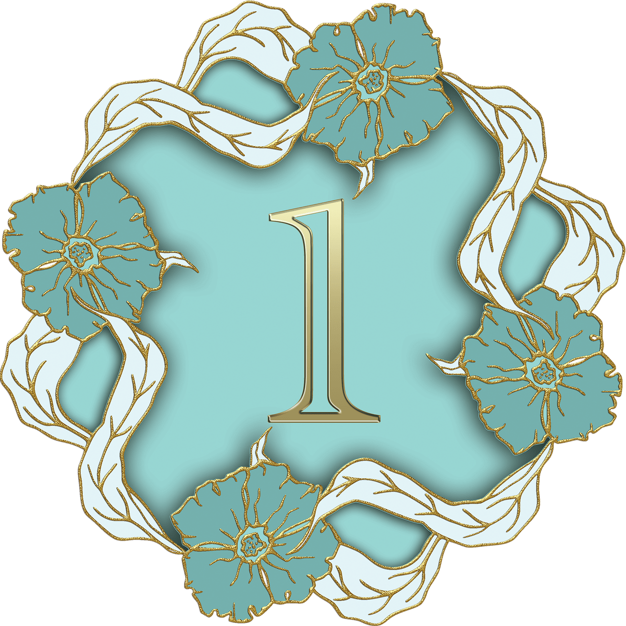 Turquoise number 1 clipart clipart stock Flower Theme Number 1 transparent PNG - StickPNG clipart stock