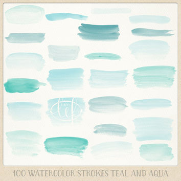 Turquoise watercolor clipart jpg black and white stock Watercolor clipart strokes banners (100 pc) mint teal aqua blue turquoise.  hand painted for logo design, blogs, cards, printables, wall art jpg black and white stock
