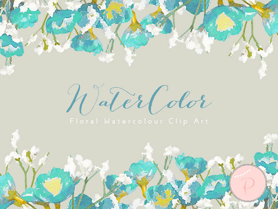 Turquoise watercolor clipart image download Turquoise White Baby Breath Floral Clip art, Watercolor ... image download