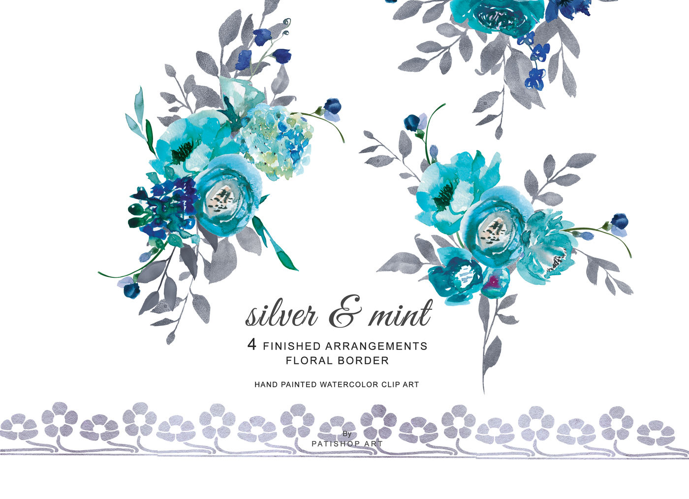 Turquoise watercolor clipart banner black and white download Watercolor Turquoise Flowers and Silver Leaves Clipart ... banner black and white download