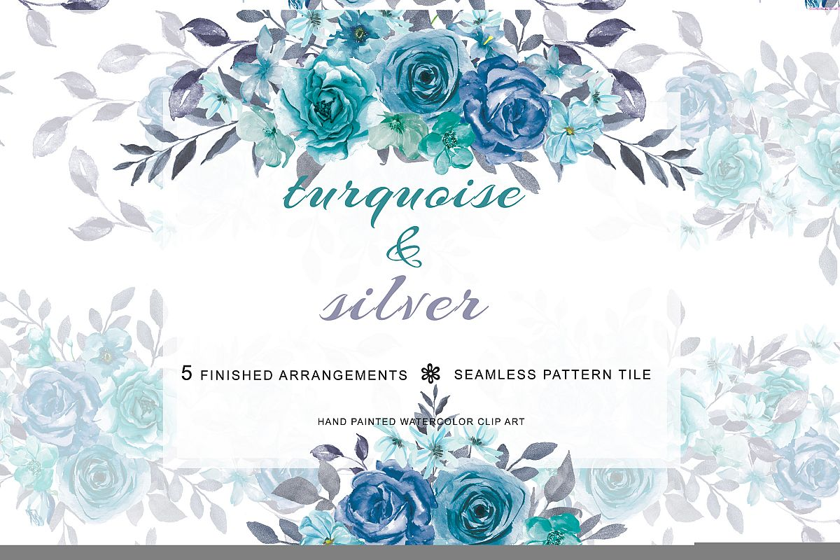 Turquoise watercolor clipart graphic library download Hand Painted Watercolor Turquoise Flowers and Silver Leaves graphic library download