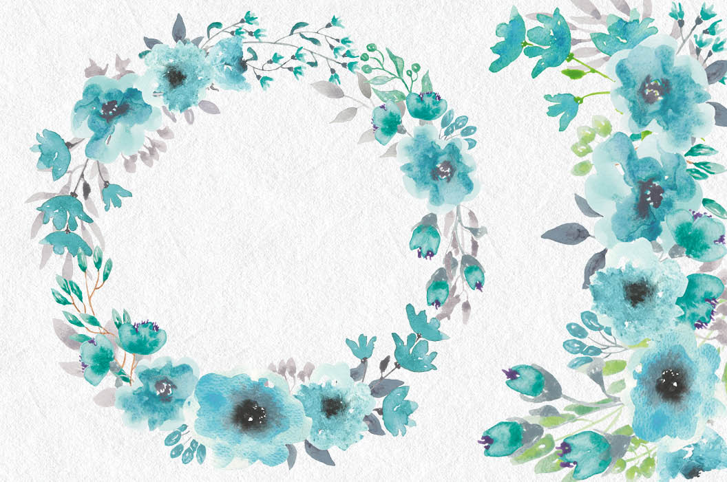 Turquoise watercolor clipart clip art freeuse stock Watercolor clip art bundle: turquoise blooms clip art freeuse stock