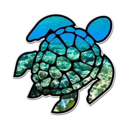 Turtle crutches clipart clipart stock Sea Turtle Underwater Coral Reef - Vinyl Sticker Waterproof Decal Sticker 5\