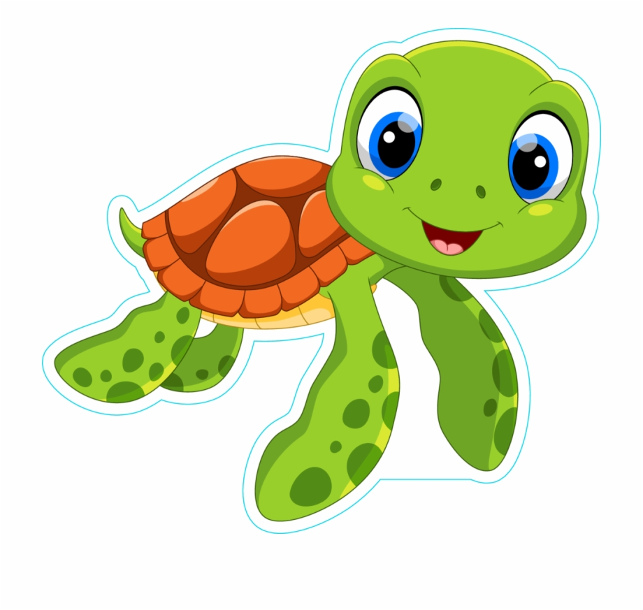 Turtle hatchling clipart png free download Cute Sea Turtle Cartoon Sticker - Baby Sea Turtle Cartoon ... png free download