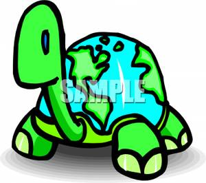 Turtle secretary clipart clip freeuse A Turtle With a Globe Shell - Royalty Free Clipart Picture clip freeuse